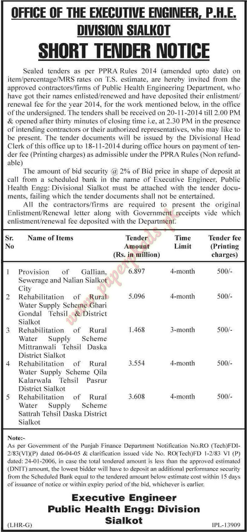 Office of the Executive Engineer PHE Division Sialkot - Dawn Tender 31 October 2014