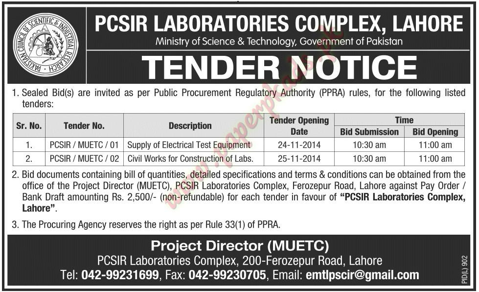 PCSIR Laboratories Complex Lahore - jang Tender 31 October 2014