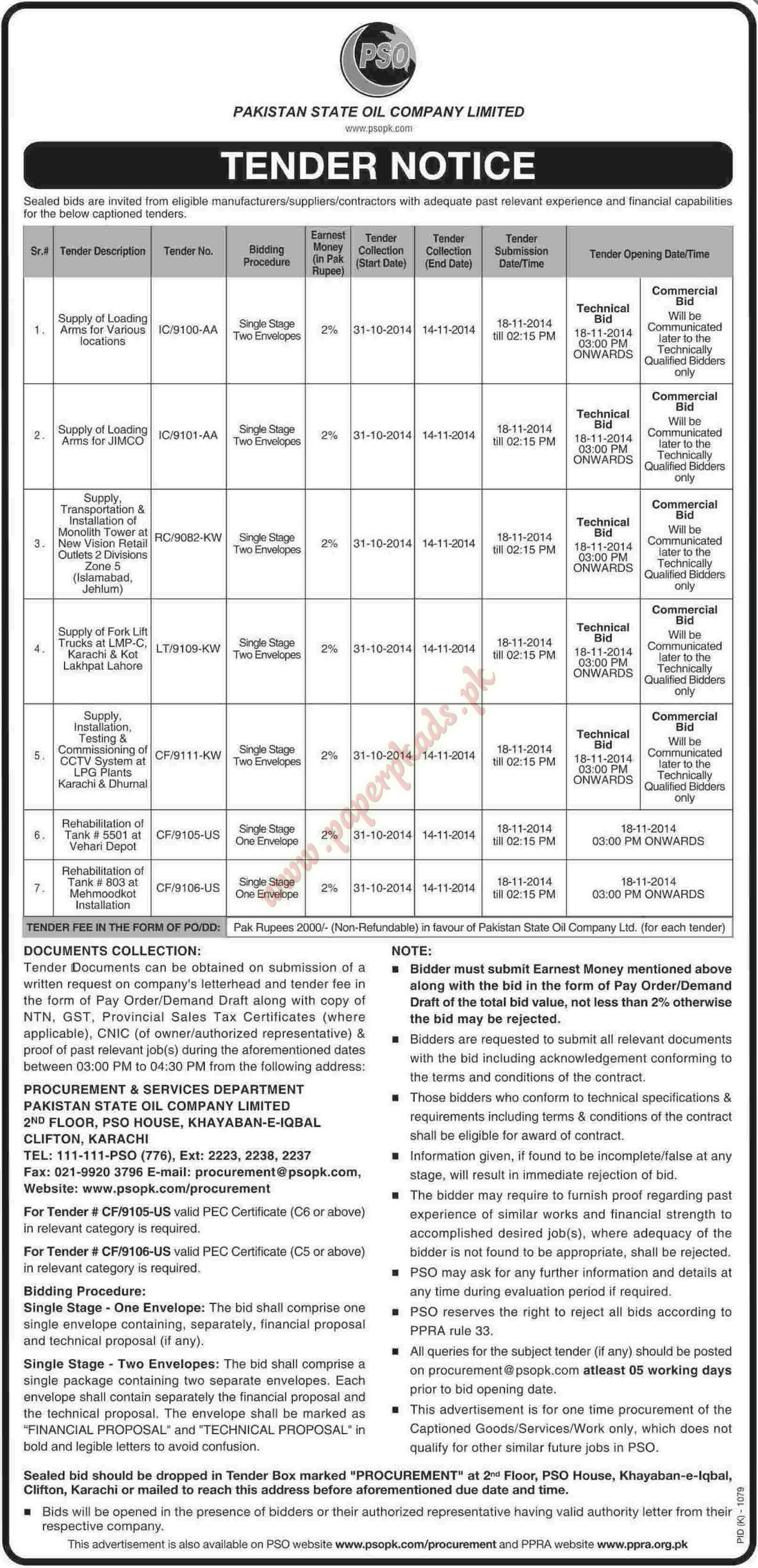 Pakistan State Oil Company Limited - Dawn Tender 31 October 2014