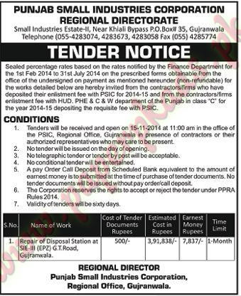 Punjab Small Industries Corporation - Nawaiwaqt Tender 31 October 2014