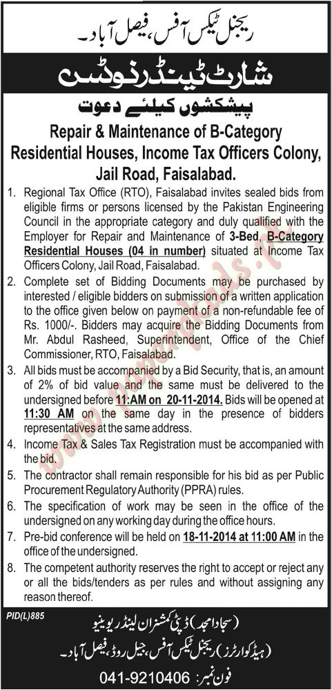Regional tax Office - Jang Tender 31 October 2014