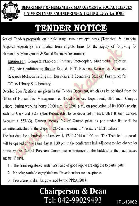 University of Engineering & Technology Lahore - Express Tender 31 October 2014