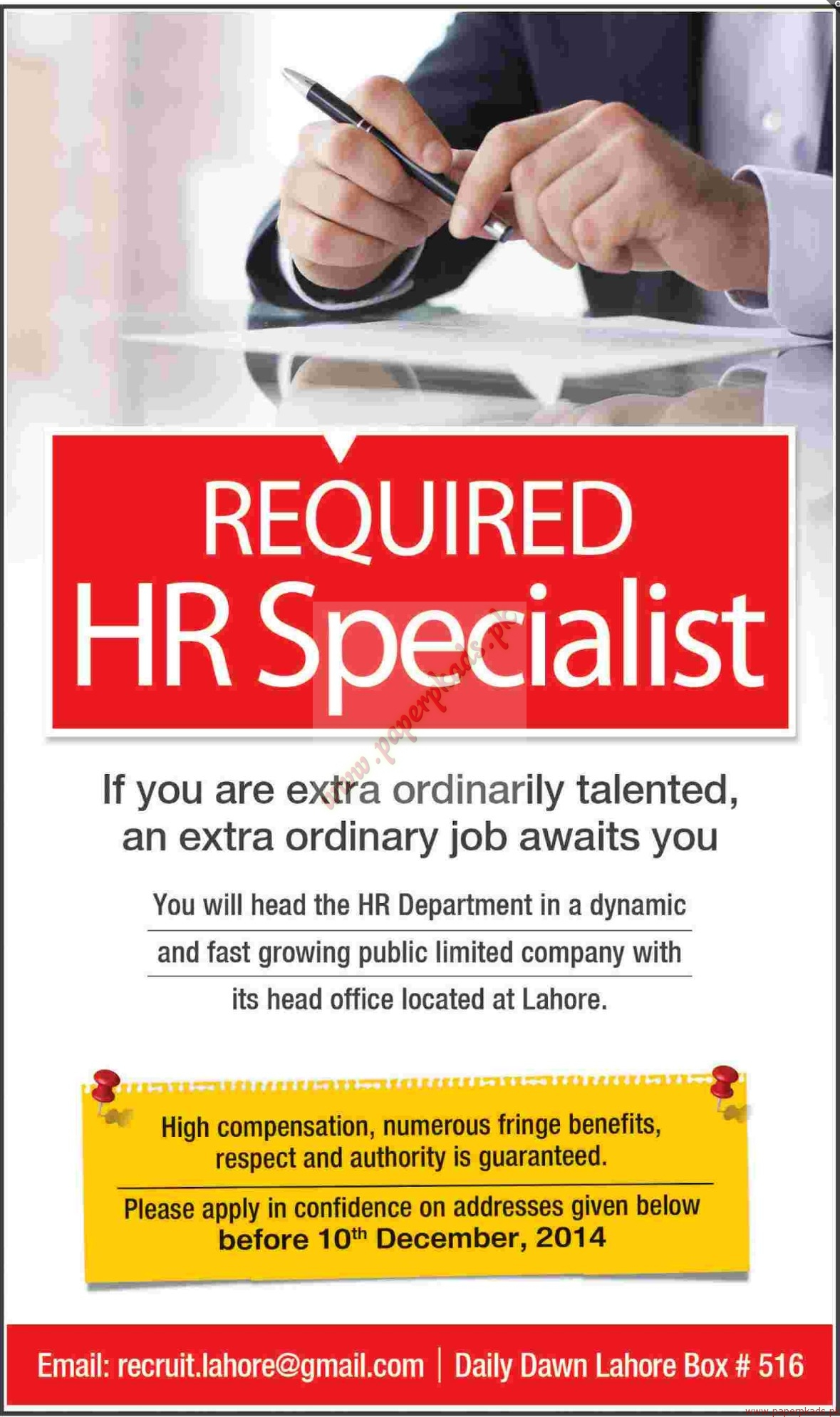 hr specialists required