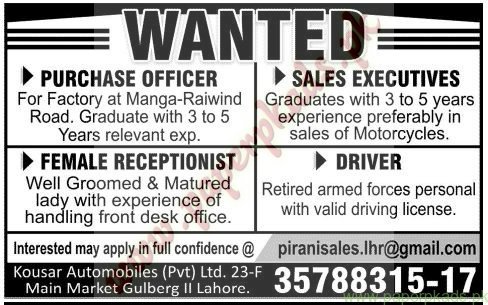 purchase officer sales executive female receptionist driver jobs jang jobs ads 16 november 2014 executive driving jobs