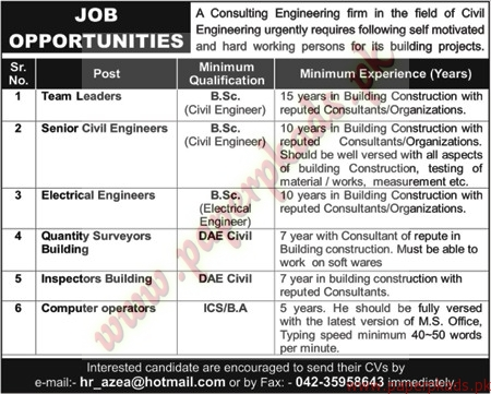 team leaders senior civil engineers electrical engineers inspectors building computer operators jobs nawaiwaqt jobs ads 29 november 2014 - Senior Civil Engineer Jobs