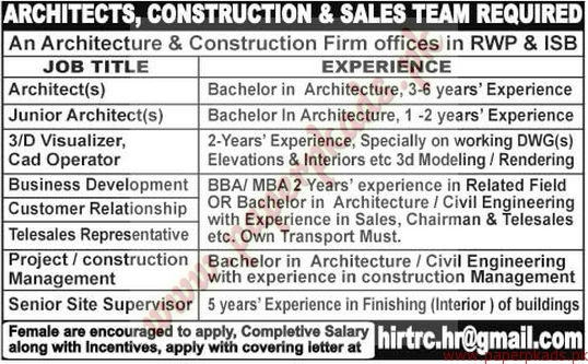 Architects, Construction & Sales Team Required - The News Jobs ads 08 March 2015
