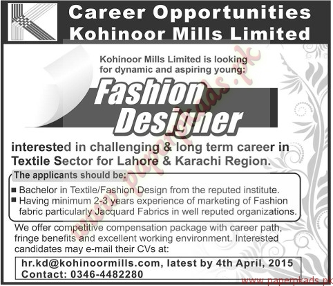 Fashion Designers Jobs In Lahore