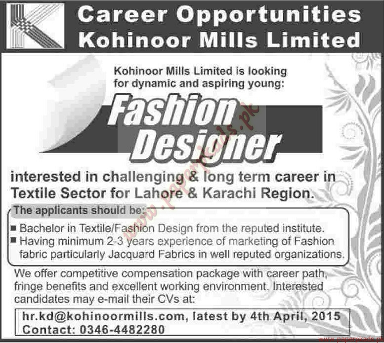Fashion designers jobs dawn jobs ads 22 march 2015 paperpk for Work from home fashion design jobs