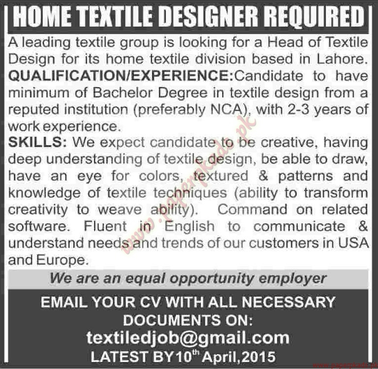 Home textile design jobs – House design ideas