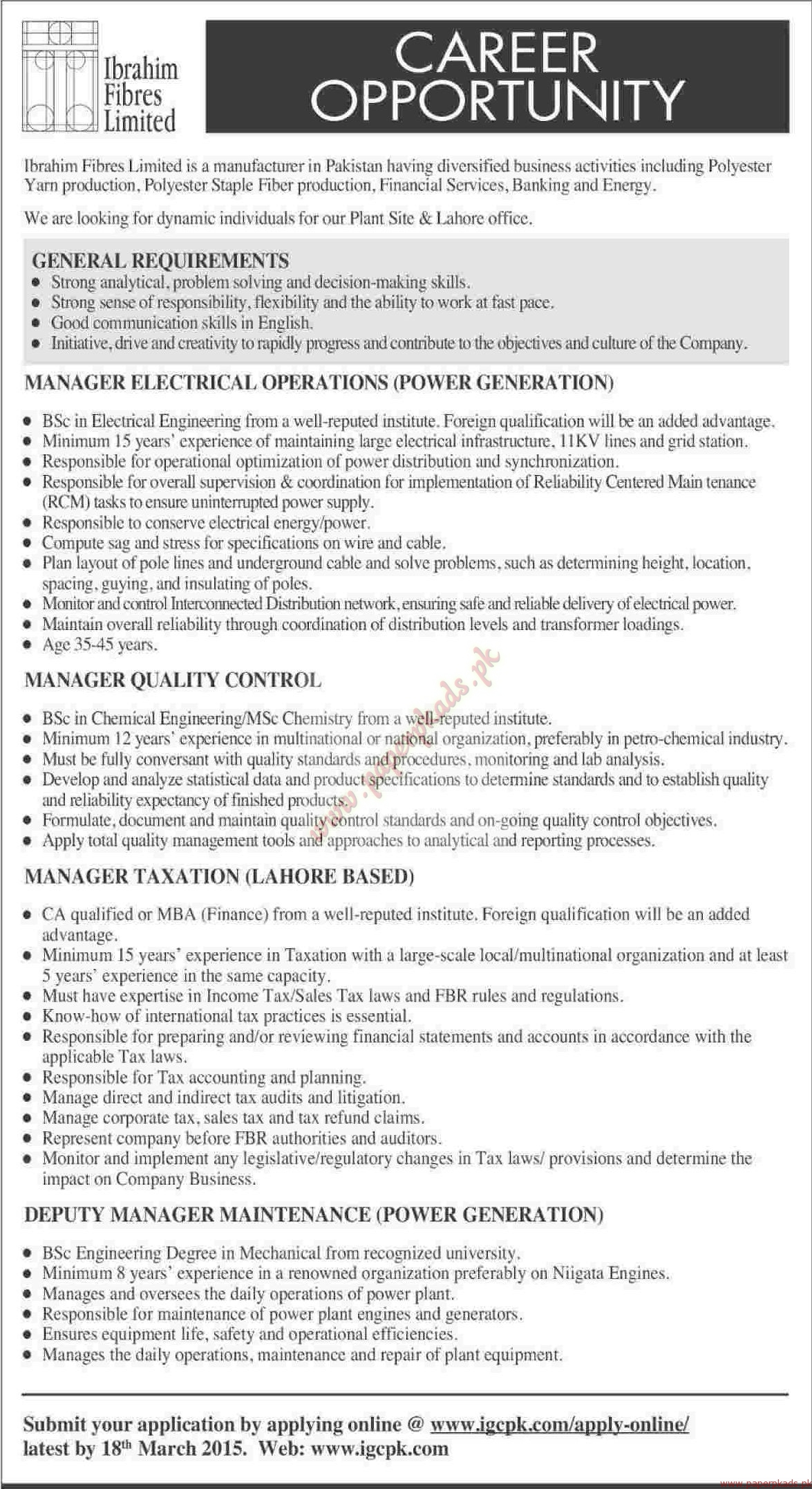 Ibrahim Fibres Limited Jobs Dawn Jobs ads 08 March 2015 PaperPk