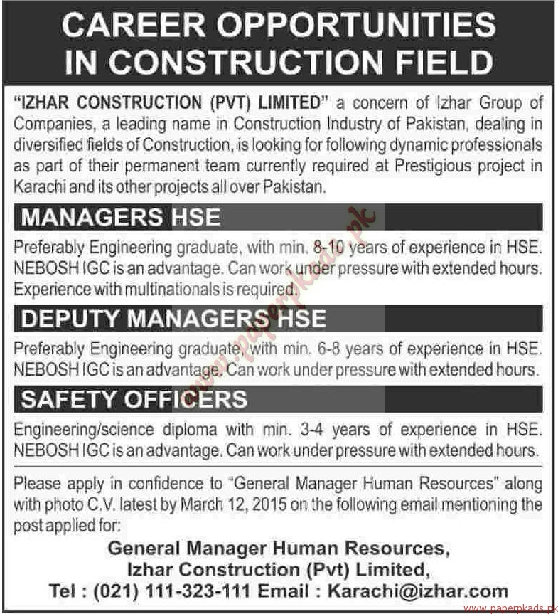 izhar construction private limited jobs dawn jobs ads 08 march 2015