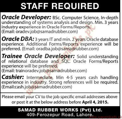 Oracle Developer, Oracle Dba, Trainee Oracle Developer And Cashier