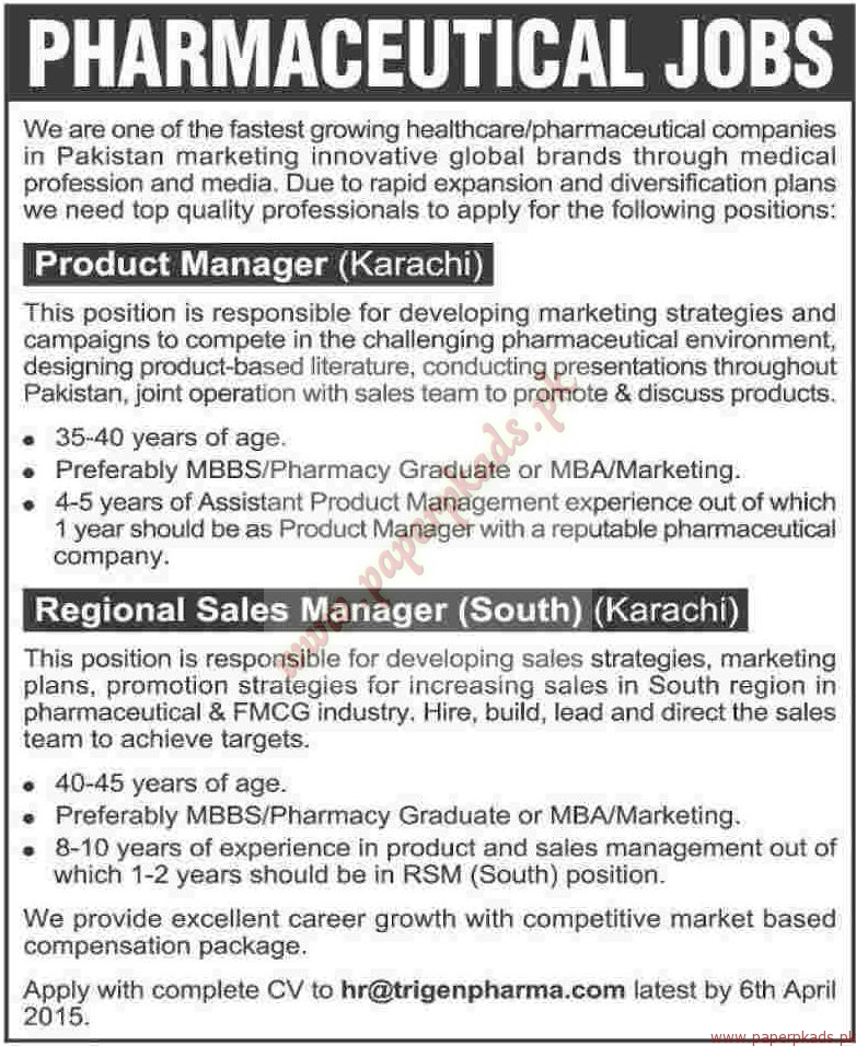 Product Managers And Regional Sales Manager Jobs  Dawn Jobs Ads