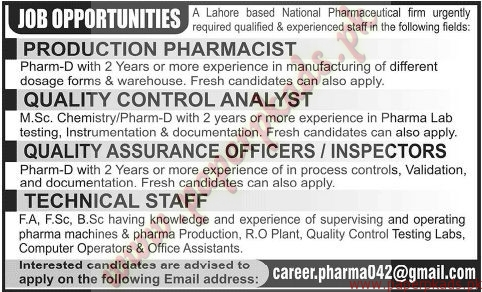 Production Pharmacist, Quality Control Analyst, Quality Assurance ...