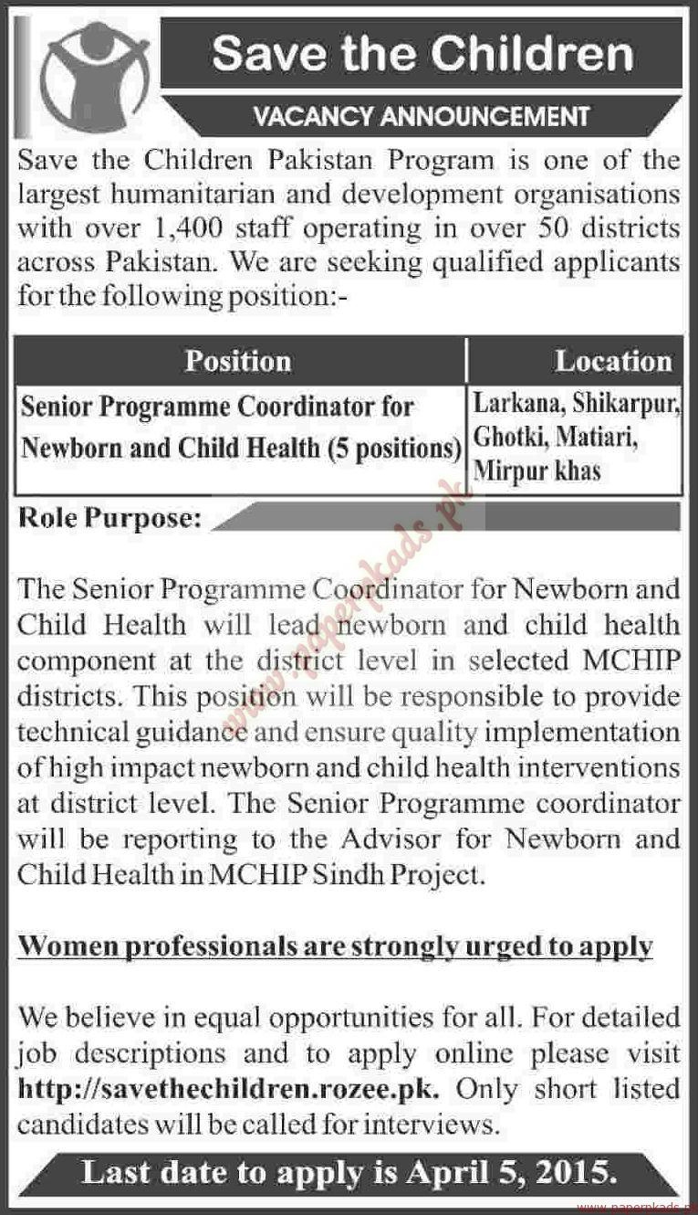 save the children pakistan jobs dawn jobs ads 29 march 2015 paperpk. Black Bedroom Furniture Sets. Home Design Ideas