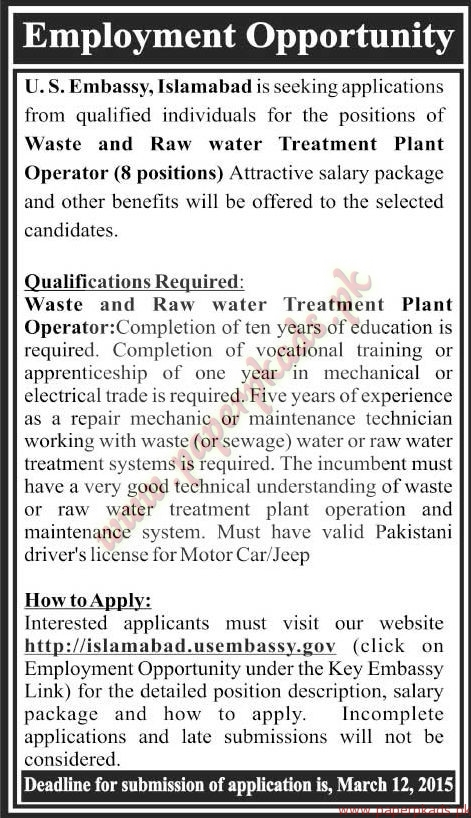Us embassy islamabad jobs the news jobs ads 01 march for Consulate jobs