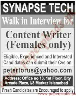 Content writers required