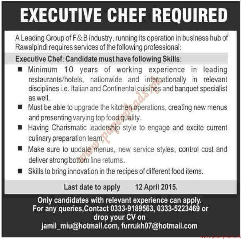 Examples List on Executive Chef