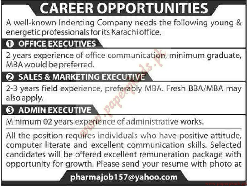 Office Executives, Sales U0026 Marketing Executives And Admin Executive Jobs U2013  Dawn Jobs Ads 12 April 2015