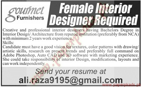 Female Interior Designer Required Jobs Jang Jobs Ads 19 May 2015 Paperpk