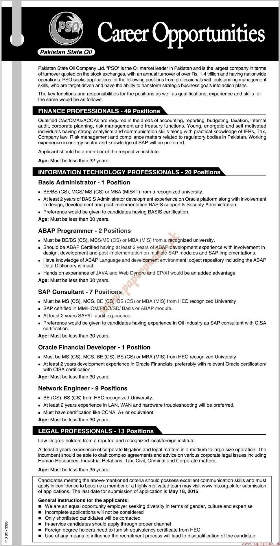 PSO Jobs U2013 The News Jobs Ads 03 May 2015