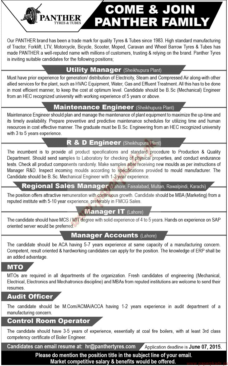 Panther Tyres and Tubes Jobs - Jang Jobs ads 24 May 2015 - PaperPk