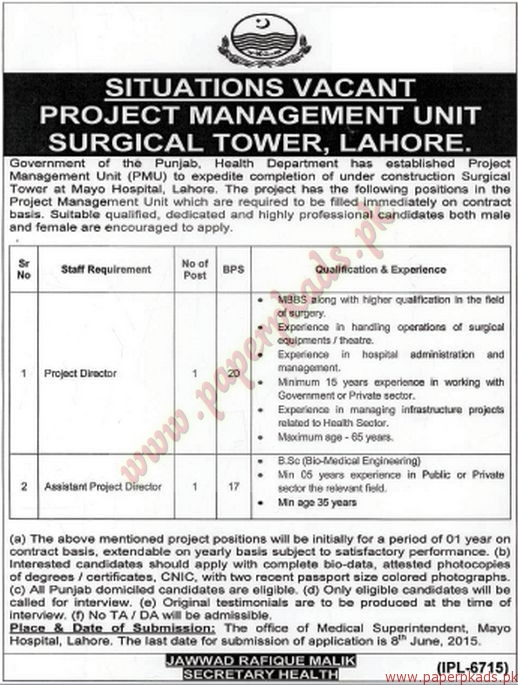 Knitting Units In Lahore : Project management unit surgical tower lahore jobs