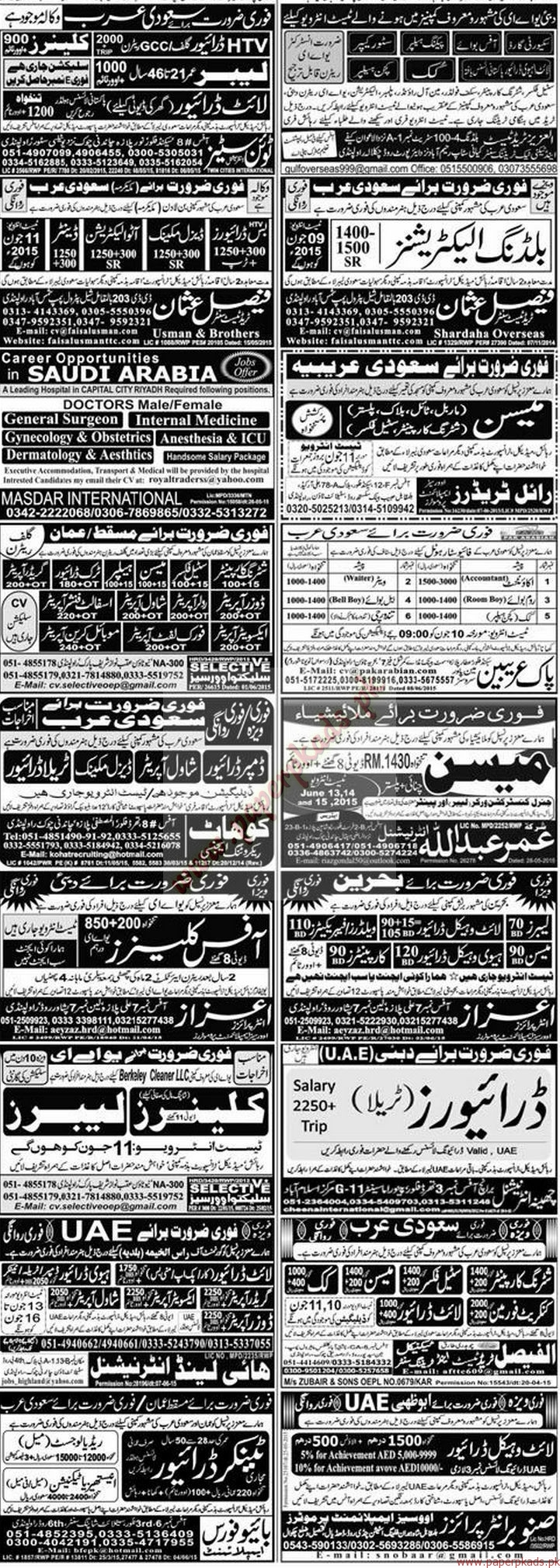 Accountant, Room boy, General Surgeon, Internal Medicine, Gynecologists, Nurses, Drivers, Office Boy, Store keeper and Other Jobs - Express Jobs ads 09 June 2015