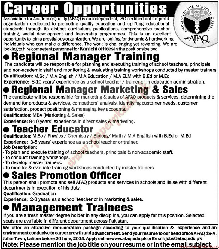 Association for Academic Quality AFAQ Jobs - Jang Jobs ads 07 June 2015