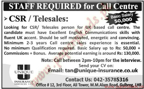 Call Centre Staff Required - Jang Jobs ads 07 June 2015