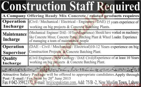 Construction Staff Required - Jang Jobs ads 07 June 2015
