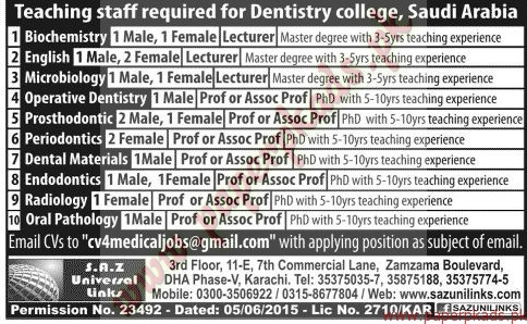 Dentistry College Saudi Arabia Jobs - Jang Jobs ads 07 June 2015