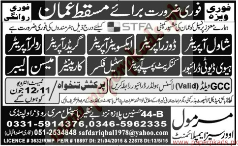 Drivers, Operators, Steel Fixers, Carpainters, Mason and Other Jobs - Jang Jobs ads 09 June 2015