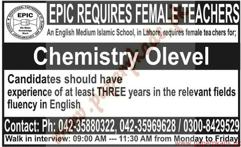 EPIC Required female Teachers Staff - Jang Jobs ads 07 June 2015