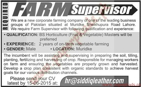 FARM Supervisors Required - Jang Jobs ads 07 June 2015