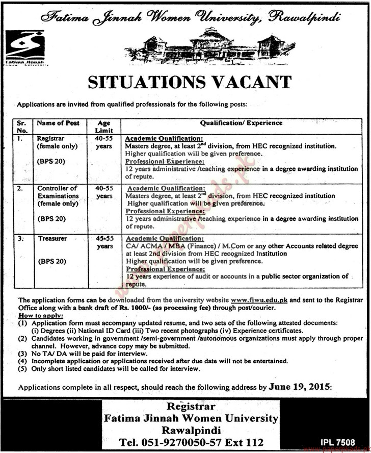 Fatima Jinnah Women University Rawalpindi Jobs - Jang Jobs ads 04 June 2015