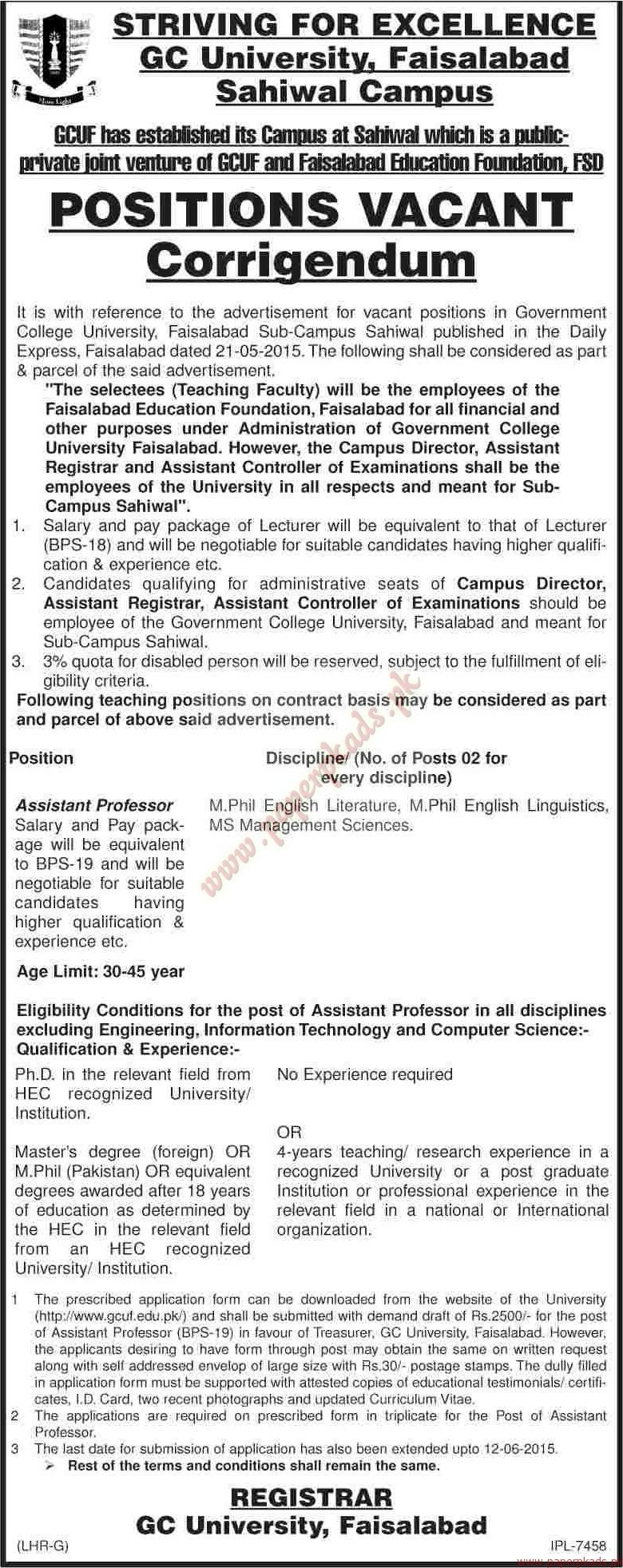 GC University Faisalabad Jobs  - Dawn Jobs ads 04 June 2015