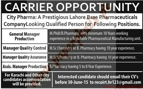 General Manager production, Manager Quaity Control, Manager Quality Assurance and Other Jobs - Jang Jobs ads 07 June 2015