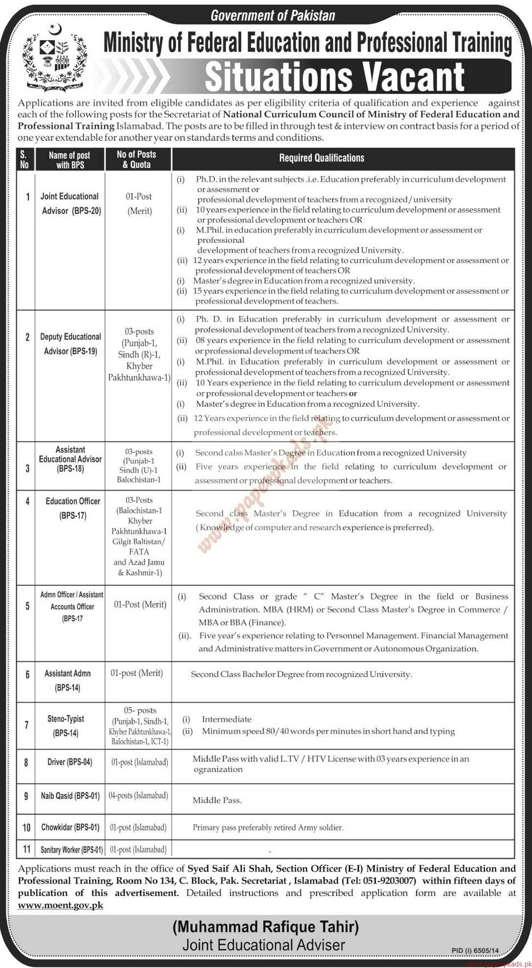 Government of Pakistan Ministry of Federal Education and