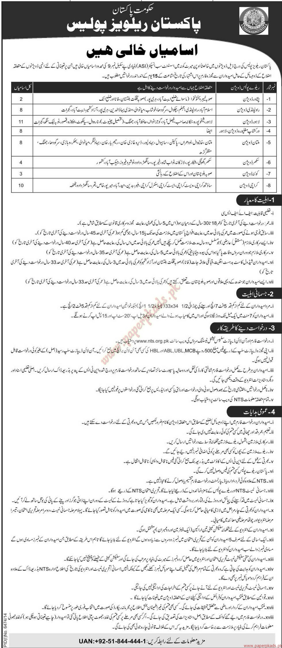 Government of Pakistan - Pakistan Railways Police Jobs - Jang Jobs ads 04 June 2015