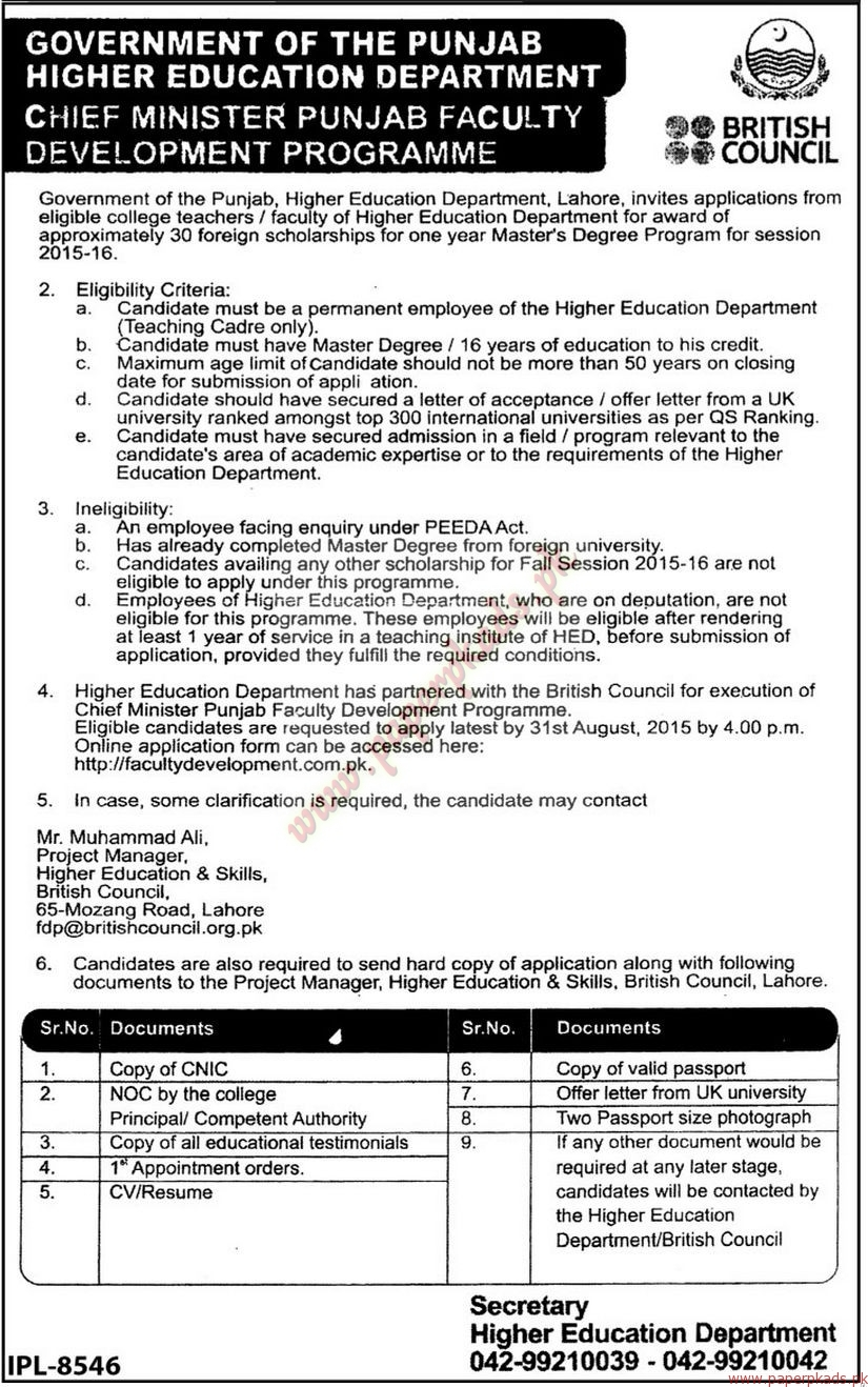 Government of Punjab - Higher Education Department Jobs - The News ...