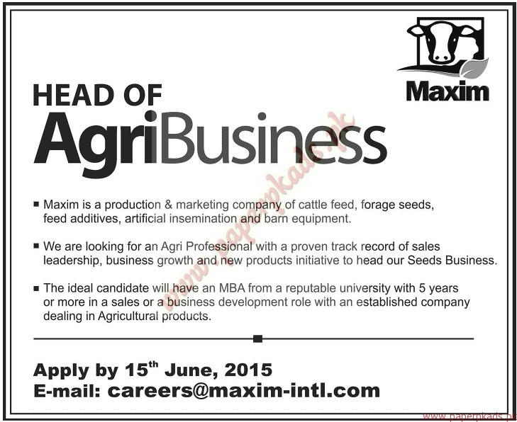 Head of AgriBusiness Required - Jang Jobs ads 07 June 2015