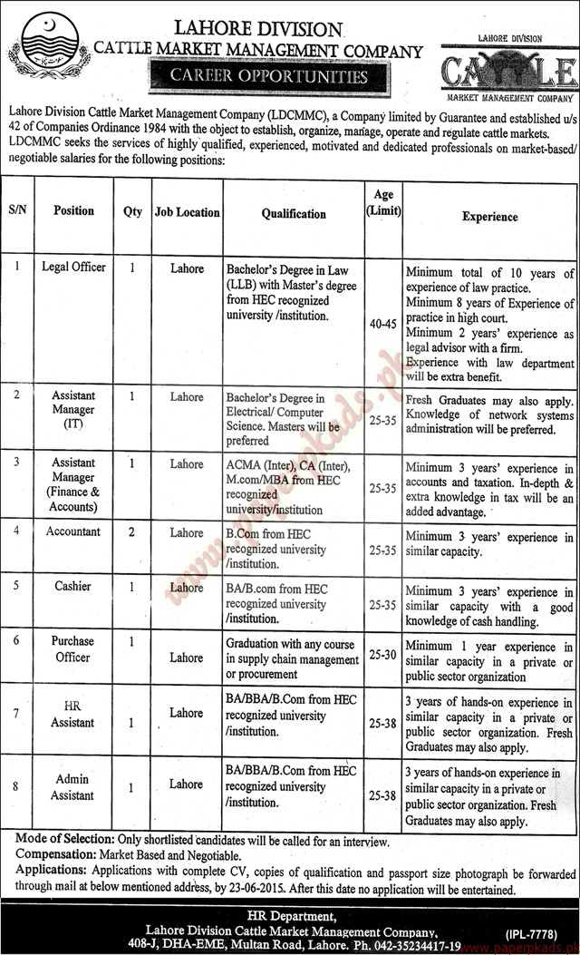 Lahore Division Cattle Market Management Company Jobs - Nawaiwaqt Jobs ads 09 June 2015