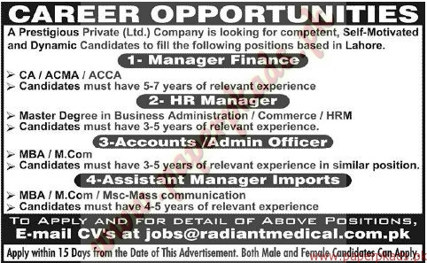 Managers Finances, HR Managers, Admin Managers and Other Jobs - Jang Jobs ads 07 June 2015