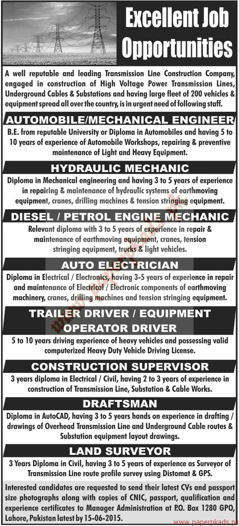 Mechanical Engineers, Hydraulic Mechanics, Petrol Engine Mechanic, Auto Electricians, Operators, Supervisors and Other Jobs - Jang Jobs ads 07 June 2015