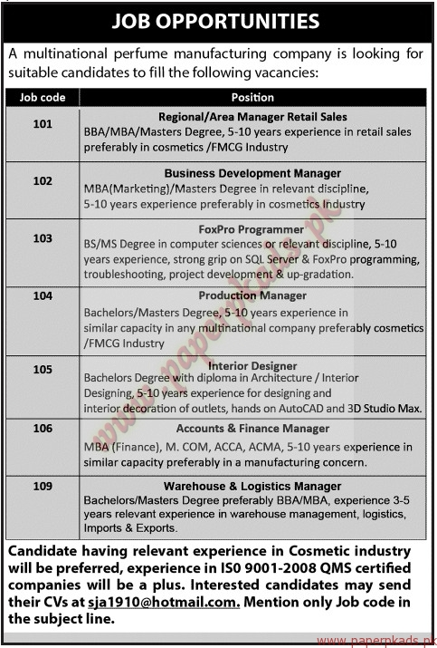 Multinational Perfume Manufacturing Company Jobs - Jang Jobs ads 07 June 2015