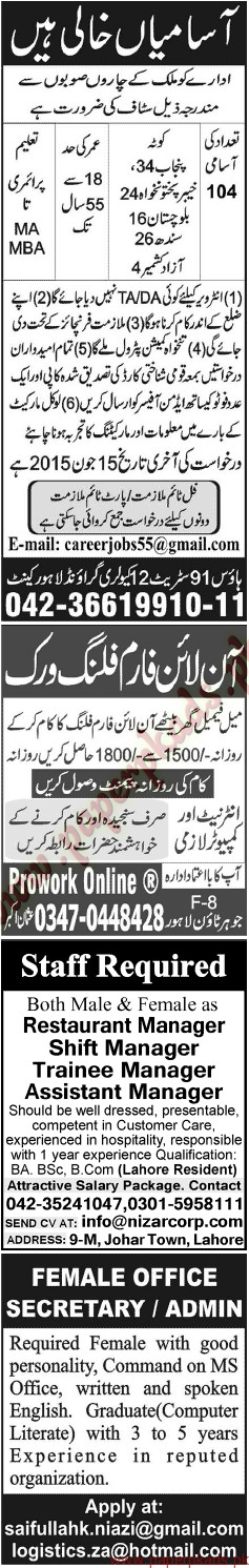 Multiple Jobs - Part 2 - Jang Jobs ads 07 June 2015