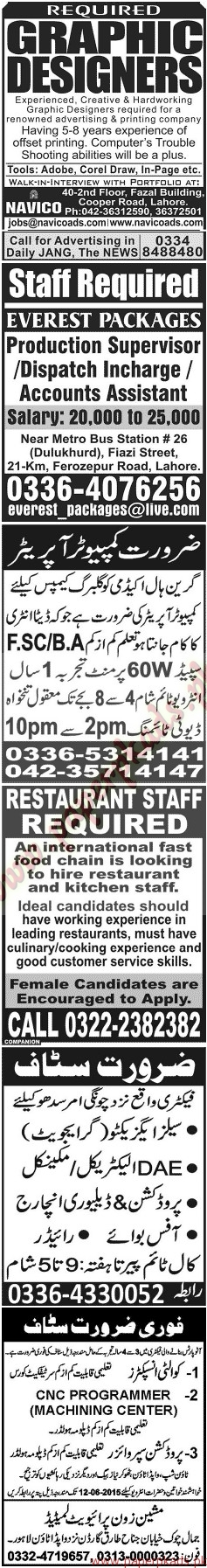 Multiple Jobs - Part 3 - Jang Jobs ads 07 June 2015