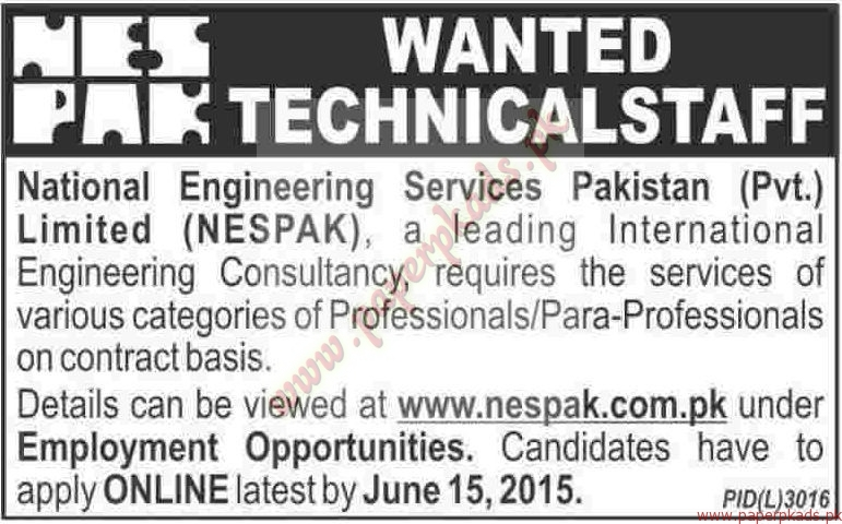 NESPAK Jobs - Dawn Jobs ads 04 June 2015