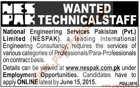 National Engineering Services Pakistan Limited Jobs - Jang Jobs ads 04 June 2015